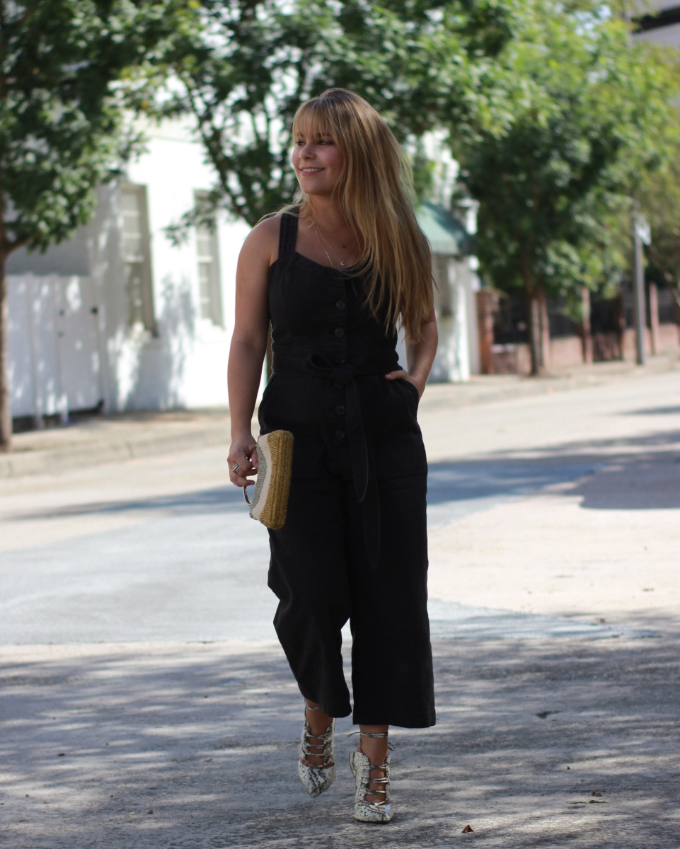 Denim Jumpsuit + Vintage Bag