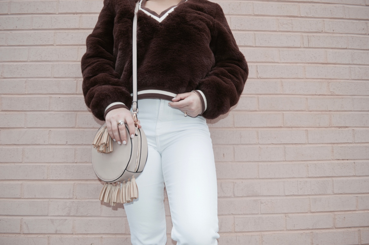Brown Bomber Top + White Frayed Jeans