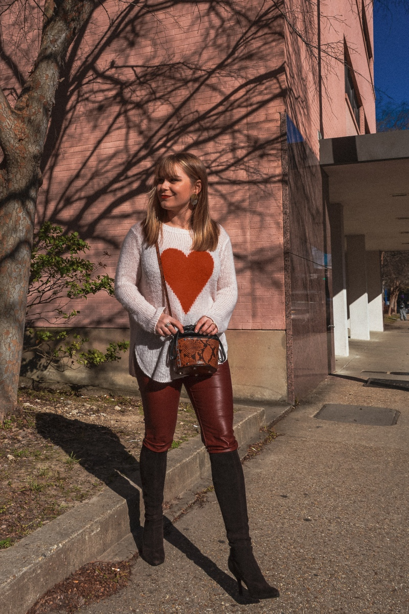 Heart Sweater + Feaux Leather Pants